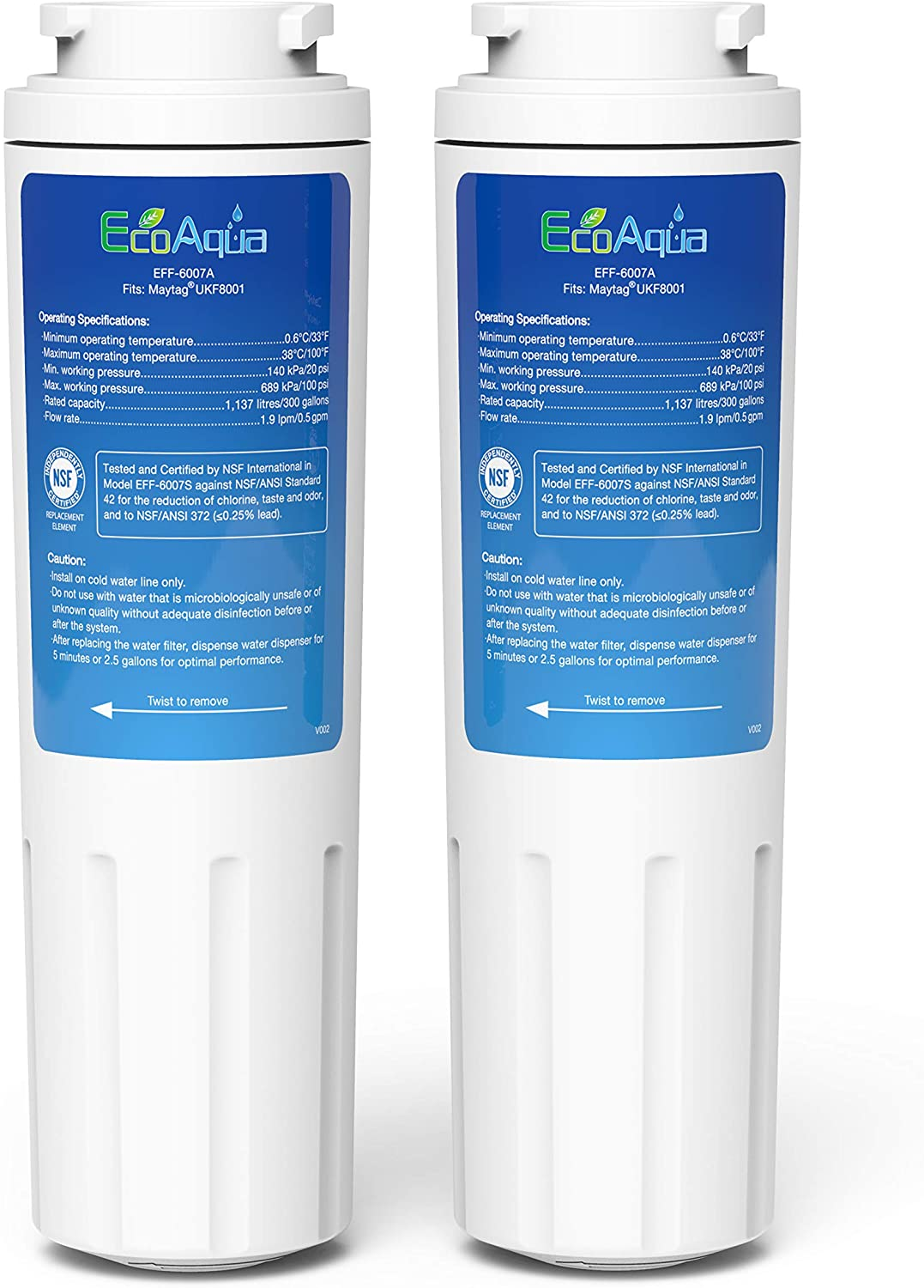 EcoAqua EFF-6007A Replacement Filter, Compatible with Maytag UKF8001, EDR4RXD1, Whirlpool 4396395, Puriclean II, Kenmore 46-9006, Everydrop Filter 4, Viking RWFFR Refrigerator Water Filter, 2 Pack