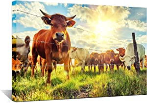 Biuteawal - Cow Canvas Wall Art Cattle in Sunrise Farm Painting Prints Animal The Picture Contemporary Artwork for Home Living Room Bedroom Decoration Ready to Hang