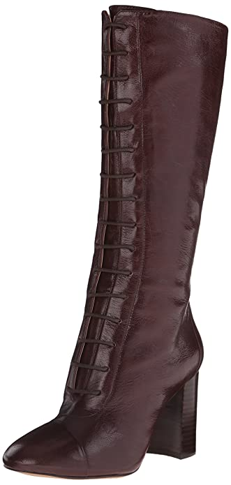 Nine West Women's Waterfall Leather Lace up Ankle Boot, Dark Brown, ...