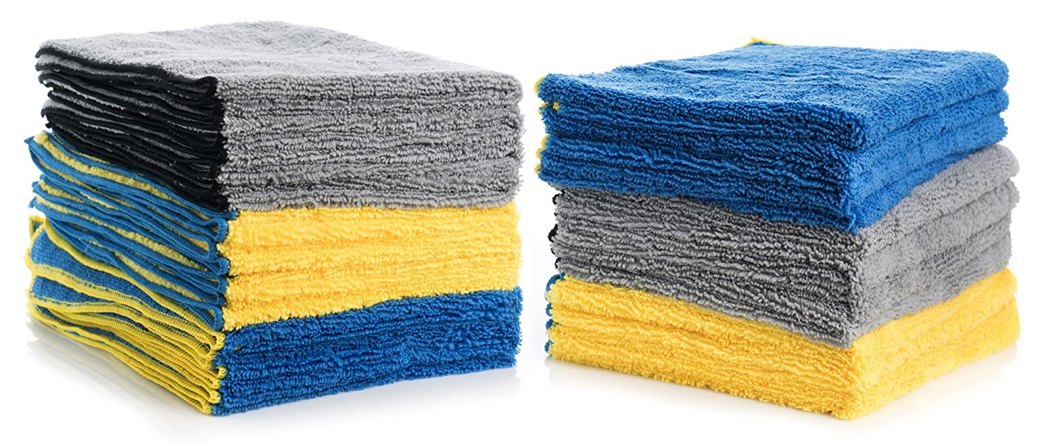 Cleaning Solutions 79106-24 PK Blue/Yellow/Gray XL Microfiber Towels (24' x 16') Pack of 24, 24 Pack