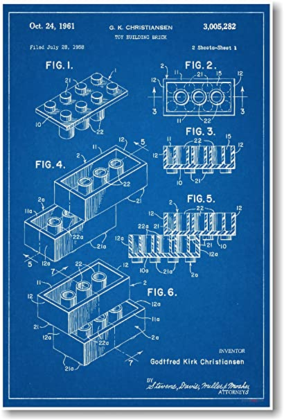 Amazon lego brick patent new famous invention blueprint lego brick patent new famous invention blueprint poster malvernweather Image collections