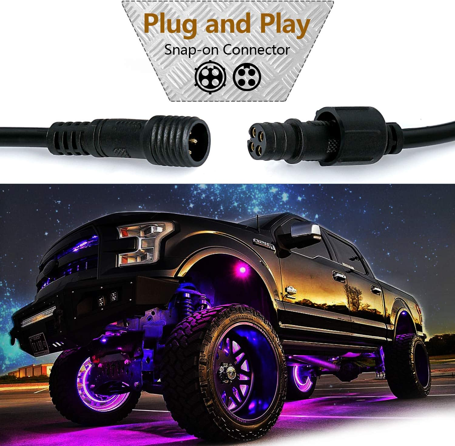 Yvoone-Auto 10 FT 4 Pin RGB LED Rock Lights Extension Cable for 4 /& 6 /& 8 Pods Multi Color Underglow Rock Lights Kits