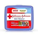 Johnson & Johnson Brand Safe Travels Portable First Aid Kit for Minor Wound Care with Assorted Adhesive Bandages, Ideal…