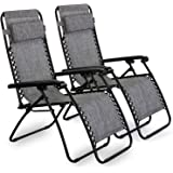 VonHaus Set of 2 Zero Gravity Chairs - Folding & Reclining Sun Loungers Twin Pack made from Steel Frame and Textoline Fabric for Patio, Conservatory, Garden