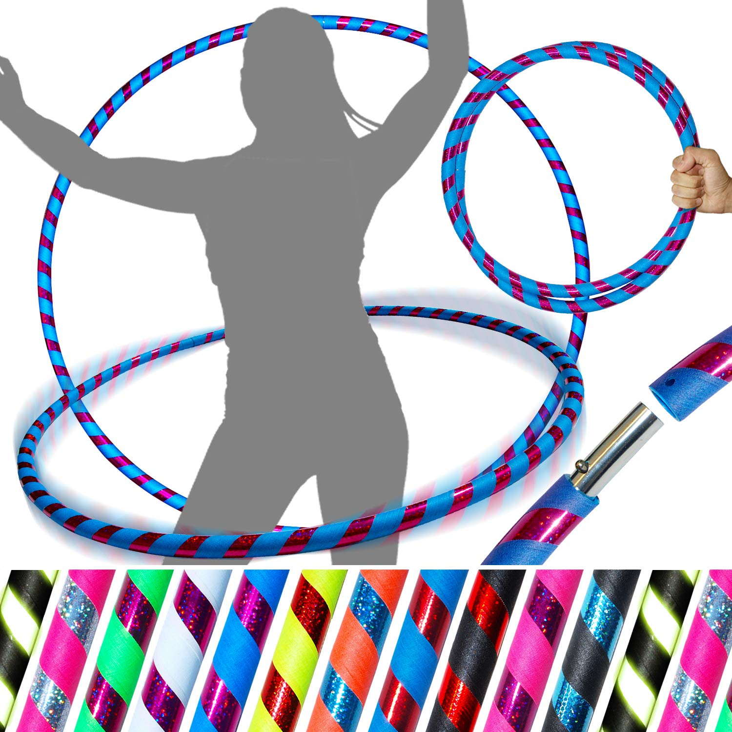 PRO Hula Hoops (Ultra-Grip/Glitter Deco) Weighted TRAVEL Hula Hoop (100cm/39') Hula Hoops For Exercise, Dance & Fitness! (640g) NO Instructions Needed - Same Day Dispatch.! (UV Blue / Purple Glitter)