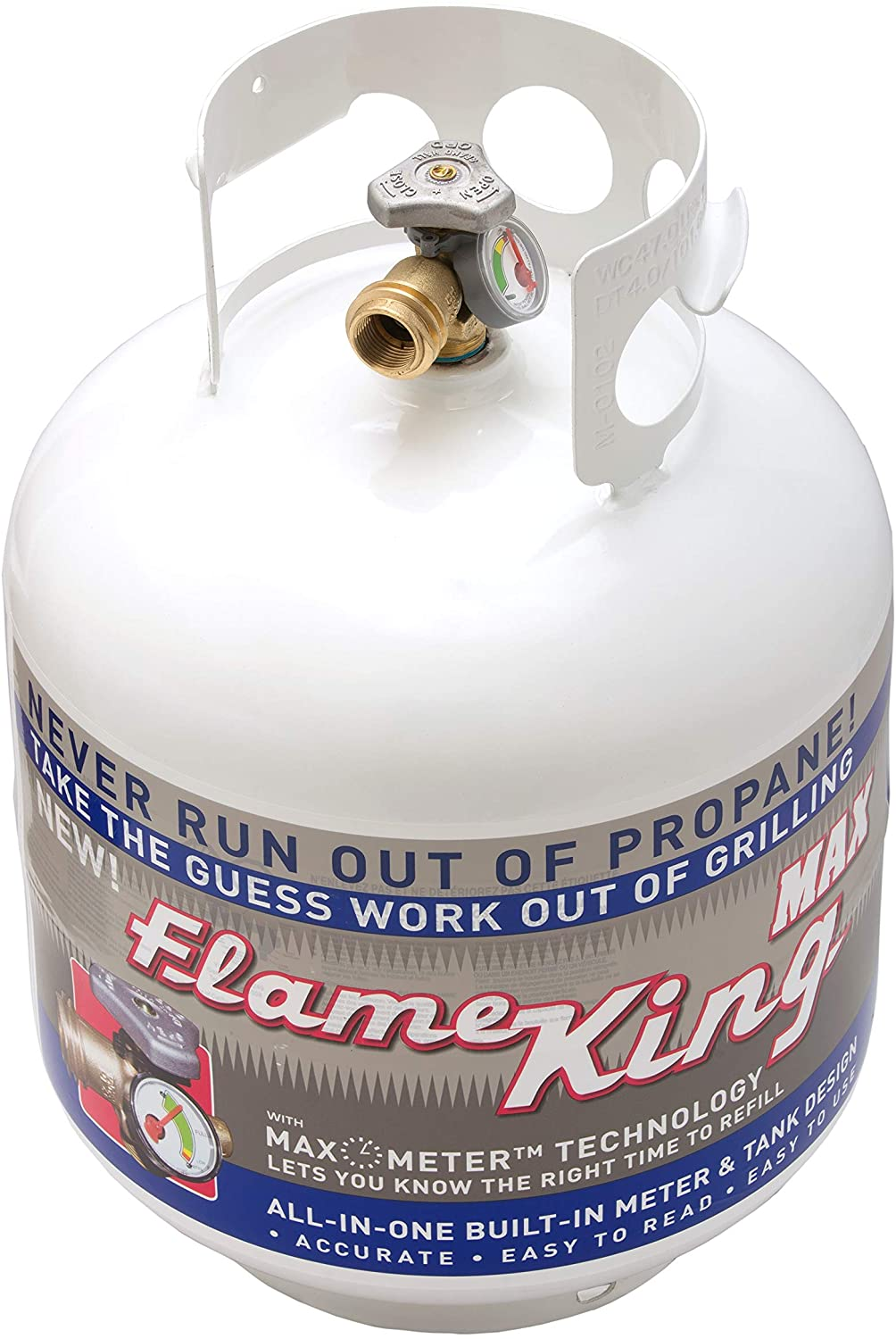 Fire Pits Flame King 20 LB Steel Horizontal Propane Tank Cylinder with OPD Valve and Built in Gauge for Fire Tables and Truck Campers Patio Heaters Barbeques