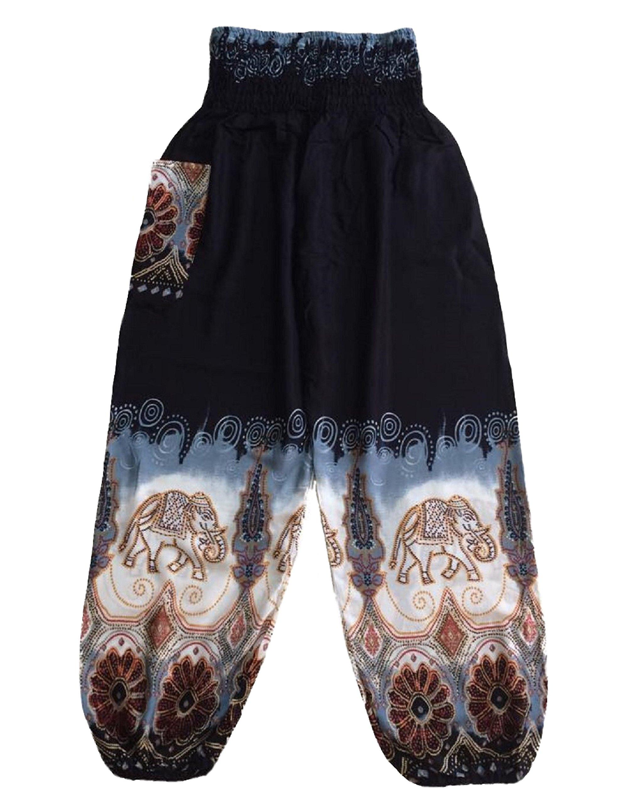 Black Batik Style Elephant Pants One Size