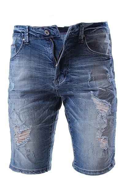 2d2569156a Jeans Corti Uomo Bermuda Shorts Strappati con Svoltino Pantaloni Corti  Cotone Elasticizzati Slim Fit Distrutti Effetto Invecchiato Attillati Skinny