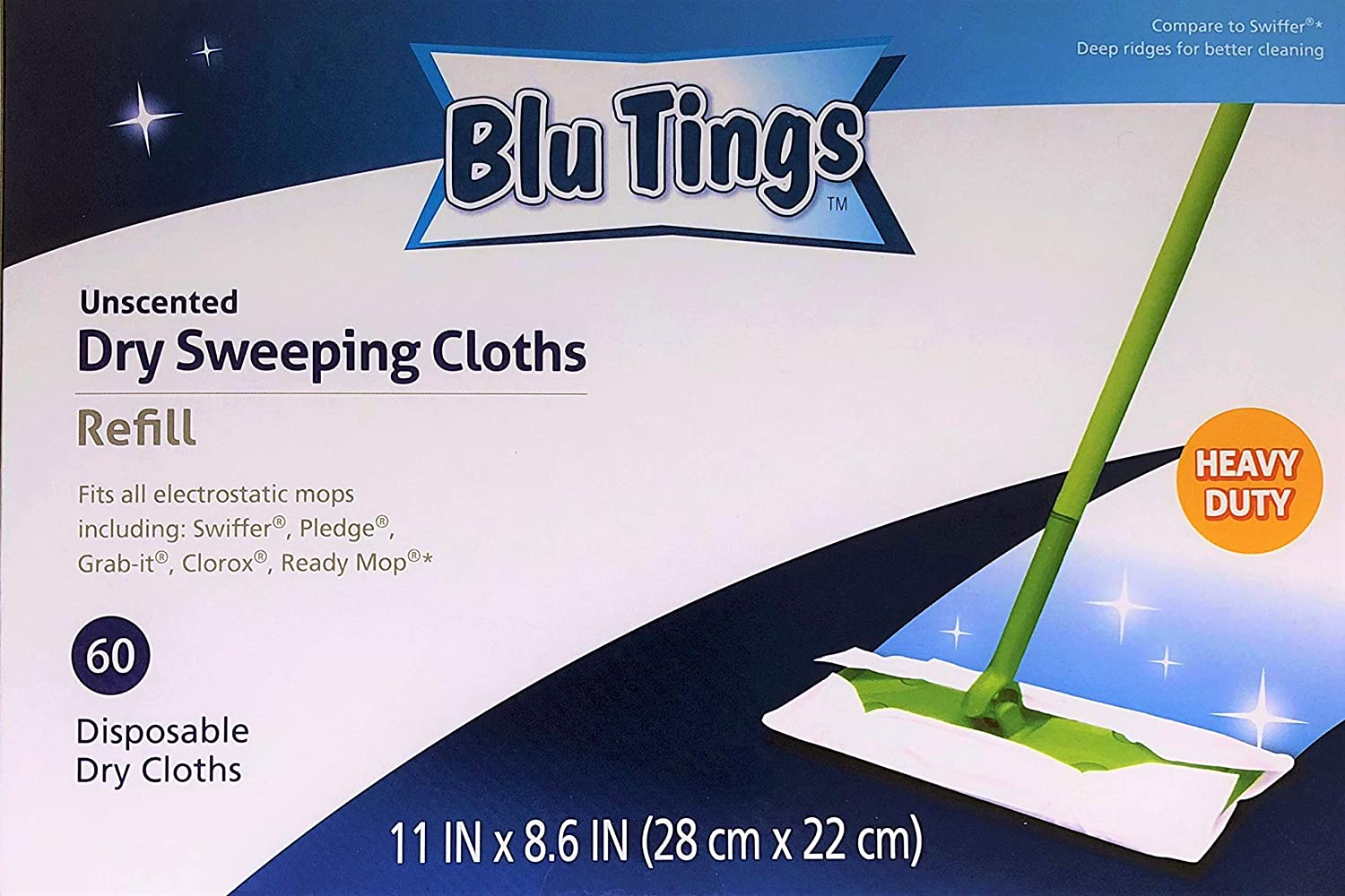 Contranco CJ LLC Generic Dry Sweeping Cloths Refill, fits Swiffer and Most Brands' mops, Heavy Duty, unscented, 60 Counts, by Blu Tings