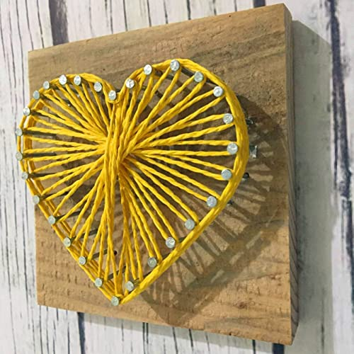 Amazon.com: Sweet and Small Rustic Wooden Heart, Yellow String Art ...