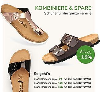 Herren Pantolette Schwanberg in 4 Farben, Bequeme Hausschuhe mit Kork Fußbett und Riemen aus Leder Sandalen hergestellt in der EU