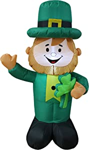 4 Foot Tall Lighted St Patricks Day Inflatable Leprechaun Holding Shamrock Cute Lucky Indoor Outdoor Lawn Yard Art Decoration