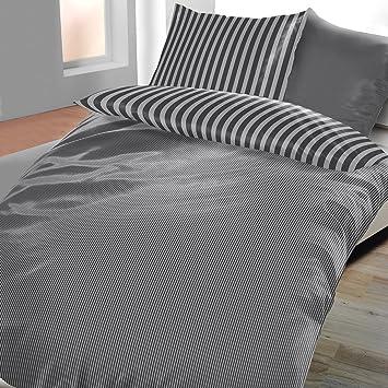 Satin Baumwolle Bettwäsche 4 Teilig 135x200 Cm Streifen Edel Amazon