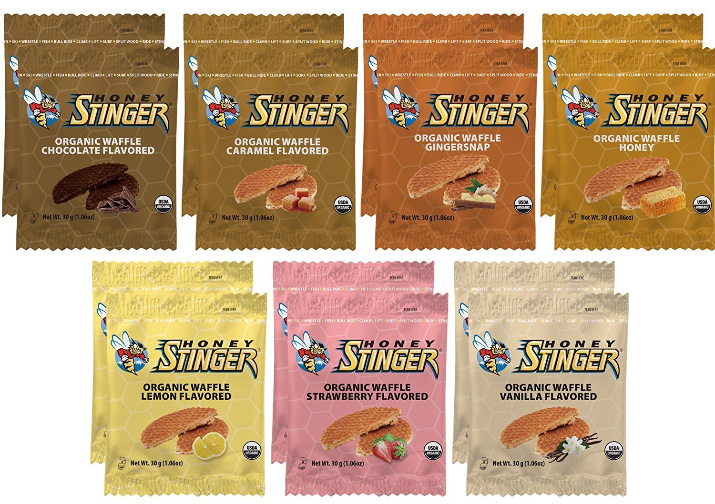 Honey Stinger Waffle Variety Sampler Pack - 14 Waffles, 2 of Each Flavor