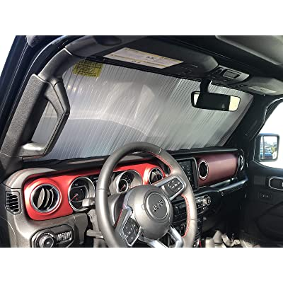 HeatShield, The Original Windshield Sun Shade, Custom-Fit for Jeep Wrangler SUV w/o Advanced Safety Group Package 2020, 2020, 2020, Silver Series: Automotive