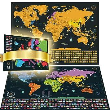 Scratch off the world map bonus deluxe eu map personalised gift scratch off the world map bonus deluxe eu map personalised gift pack and detailed gumiabroncs Gallery
