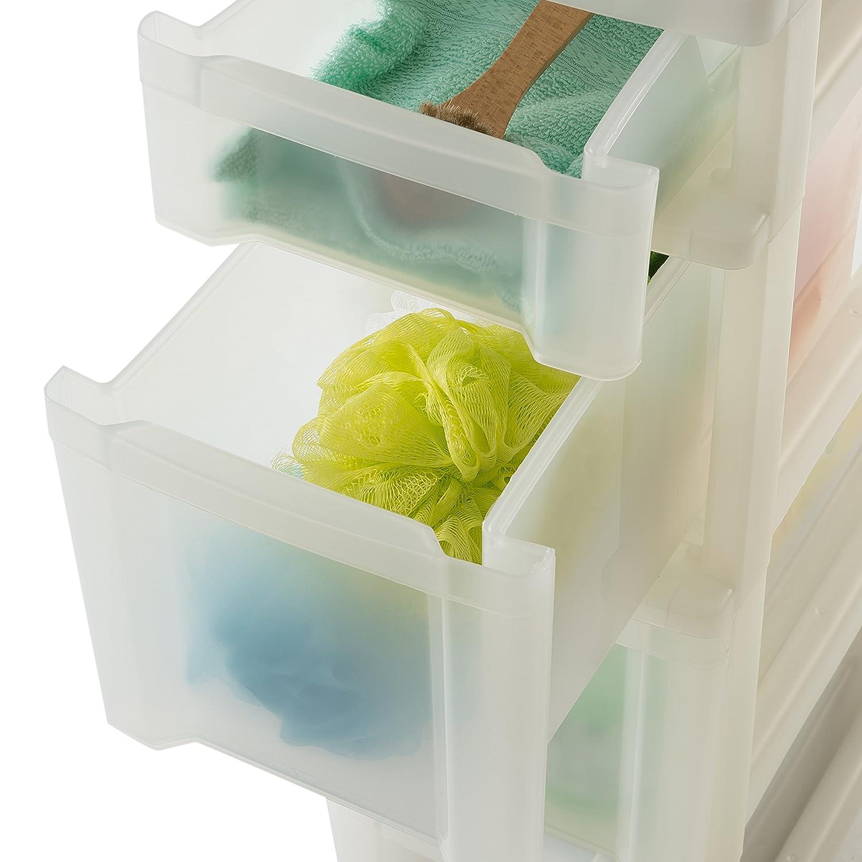 bianco Plastica 3 Tiroirs de 10L /New Slim Chest/ 40/x 20/x 61,5/cm 30/L Plastica Nero//Trasparente tour portaoggetti su ruote a 3/Cassetti/ Iris Ohyama /nsc-203