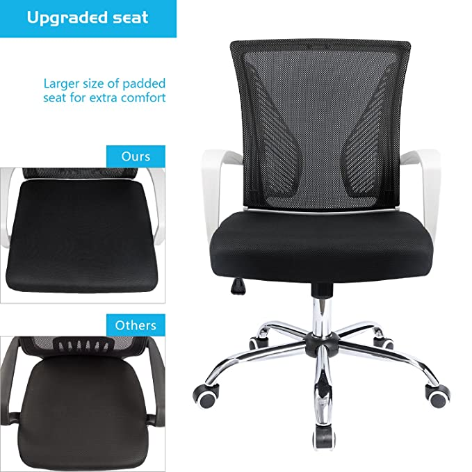 Amazon.com: Furmax Office Chair Mid Back Swivel Lumbar Support Desk Chair, Computer Ergonomic Mesh Chair (White): Kitchen & Dining