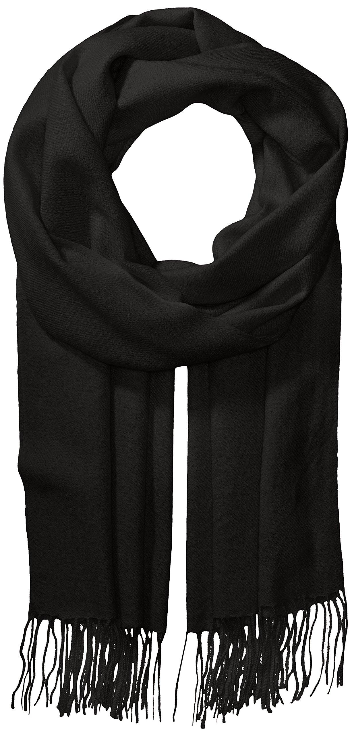 La Fiorentina Women's Soft Twill Cashmere Scarf, black, One Size by La Fiorentina
