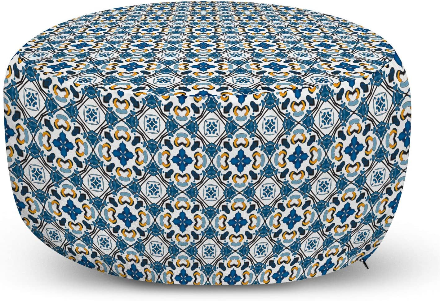 Ambesonne European Ottoman Pouf, Portuguese Ceramic Classic Tilework Building Artisan European Inspired Image Print, Decorative Soft Foot Rest with Removable Cover Living Room and Bedroom, Blue
