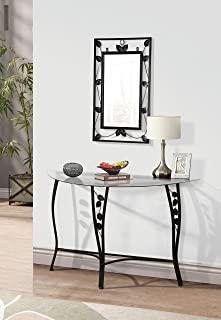 Home Source Florence Mirror u0026 Chrome Console Sofa Table  sc 1 st  Amazon.com & Amazon.com: 2pc Entry Way Console Table u0026 Mirror Set Brown Metal ...