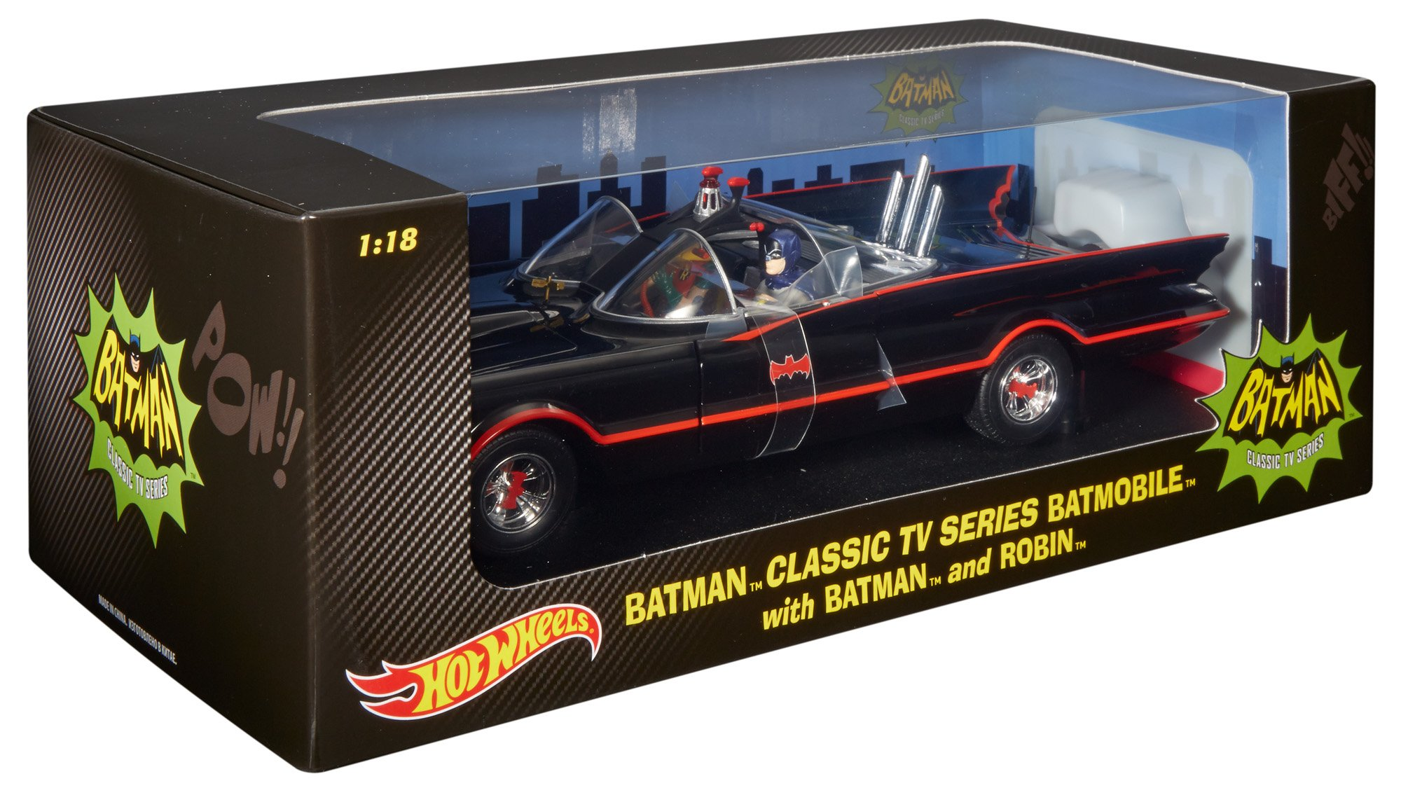 Hot Wheels Collector Batman Classic TV Series Batmobile with Figures Die-cast Vehicle (1:18 Scale) (Discontinued by manufacturer)