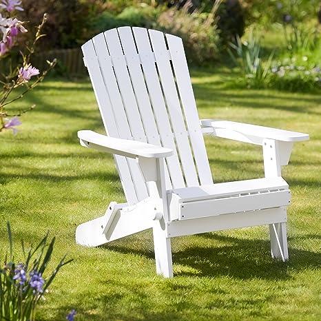 Plant Theatre Adirondack - Silla plegable de madera noble, color blanco