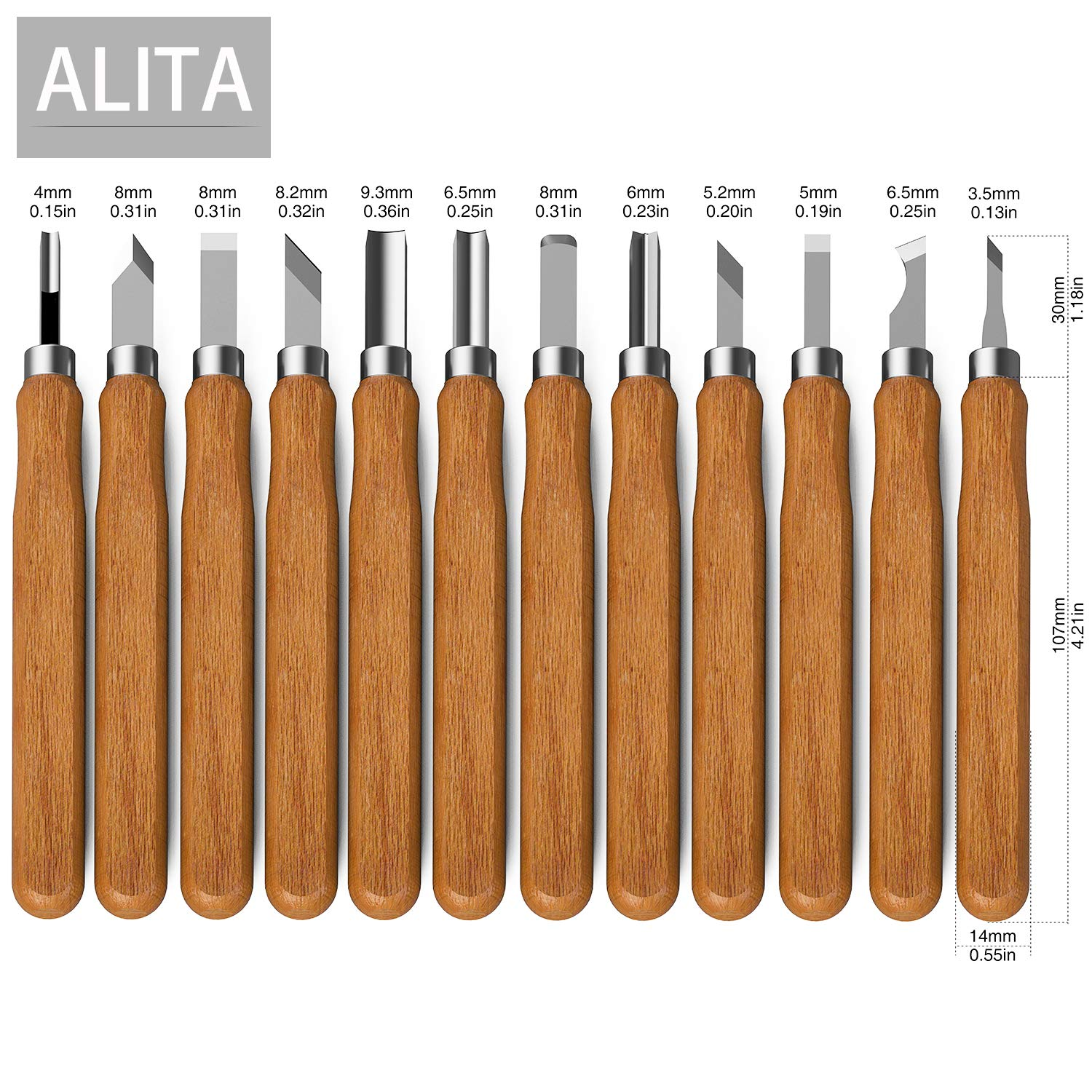 Alita Wood Carving Tools 12 Piece SK10 Carbon Steel Tools and 5 Large Wood Blocks Bundle Preferred Choice for Adults and Kids Great Learning Set for Beginner or Pro