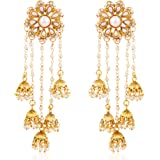 Shining Diva Fashion Gold Plated Stylish Fancy Party Wear Pearl Jhumki Traditional Earrings For Women & Girls