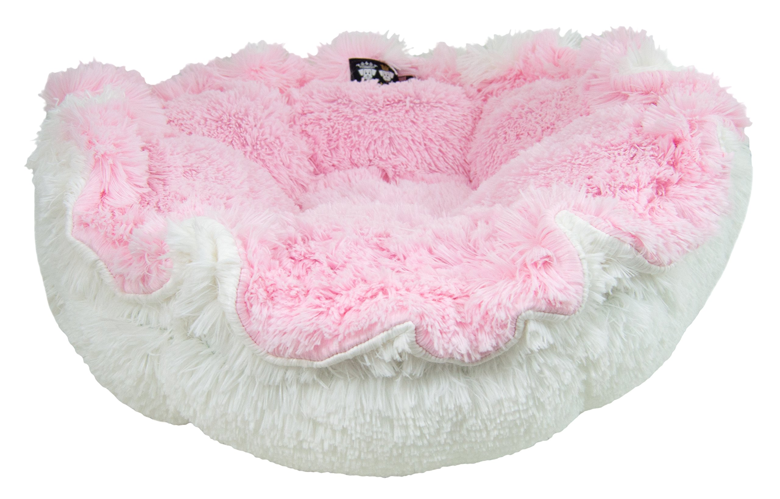 BESSIE AND BARNIE Ultra Plush Bubble Gum/Snow White Luxury Shag Deluxe Dog/Pet Cuddle Pod Bed by BESSIE AND BARNIE