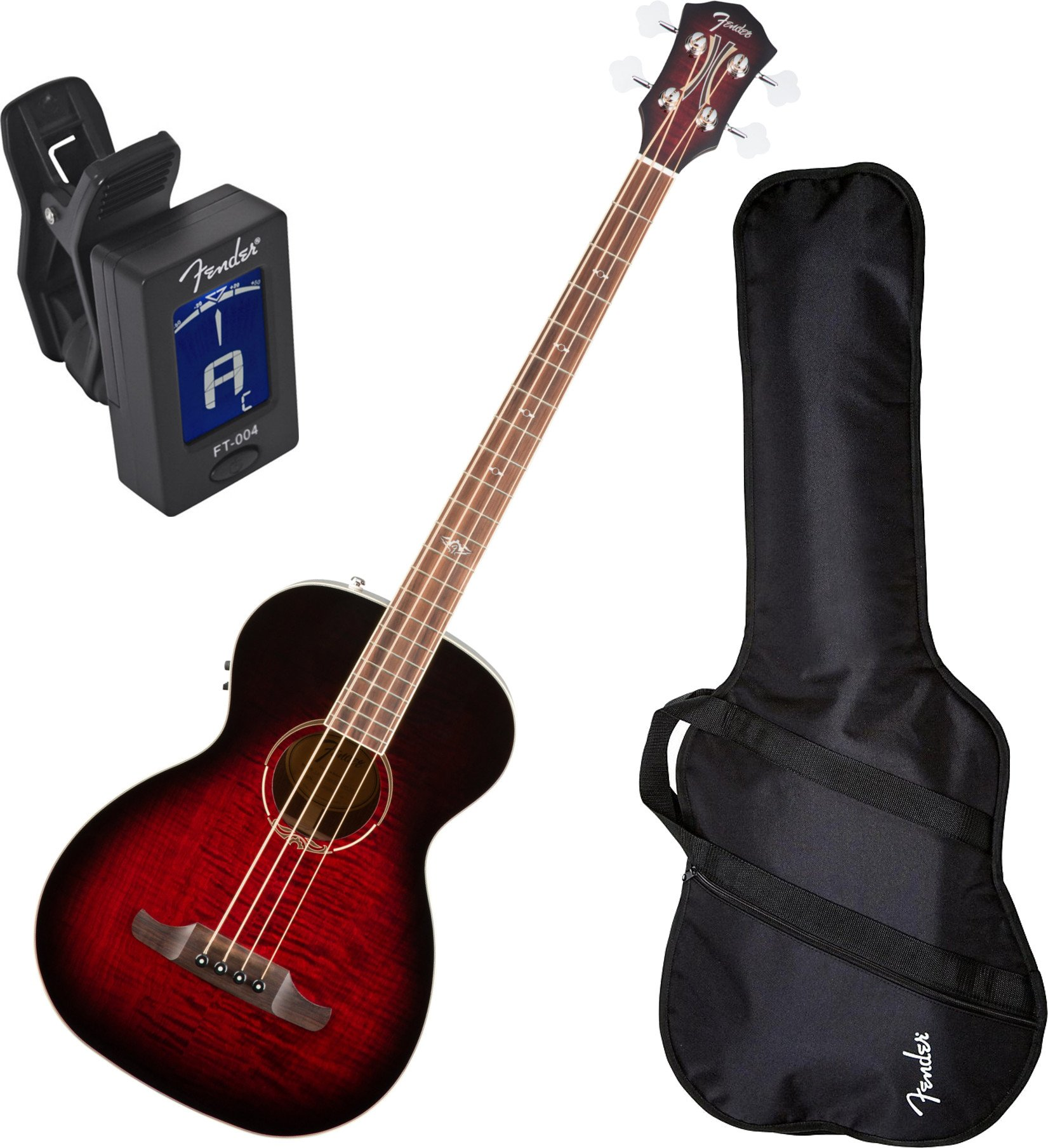 Fender 0968081061 T-Bucket 300CE Bass, Rosewood Fingerboard, Trans Cherry Burst w/ Gig Bag and Tuner