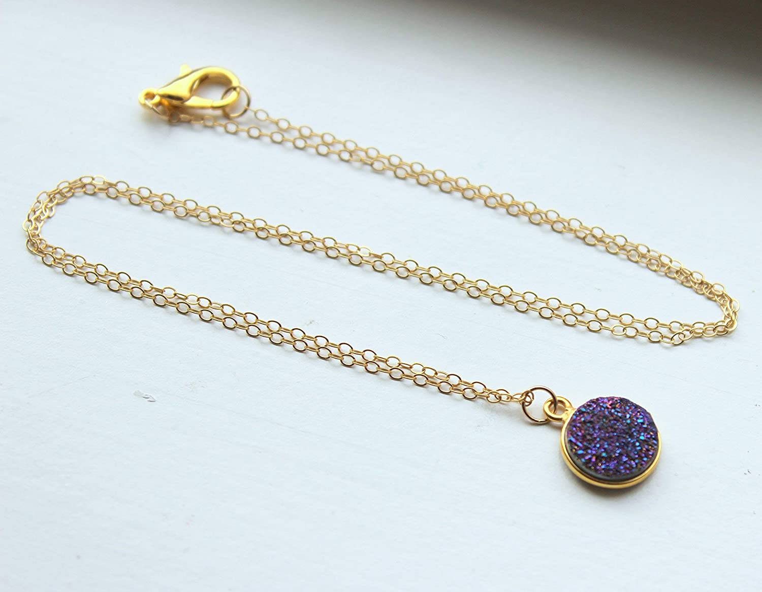 Druzy PurplePink Point Pendant on Matte Gold 18k Gold Plated Paper Clip Oval Link Chain Necklace Approximately 20\u201d Long