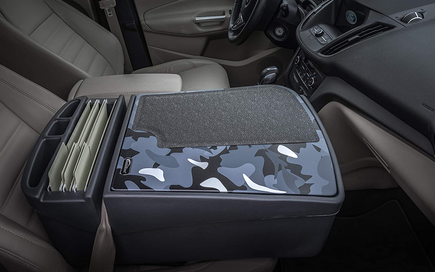 AutoExec GripMaster Car Desk Urban Camouflage with Built-in Power Inverter iPad//Tablet Mount and Printer Stand
