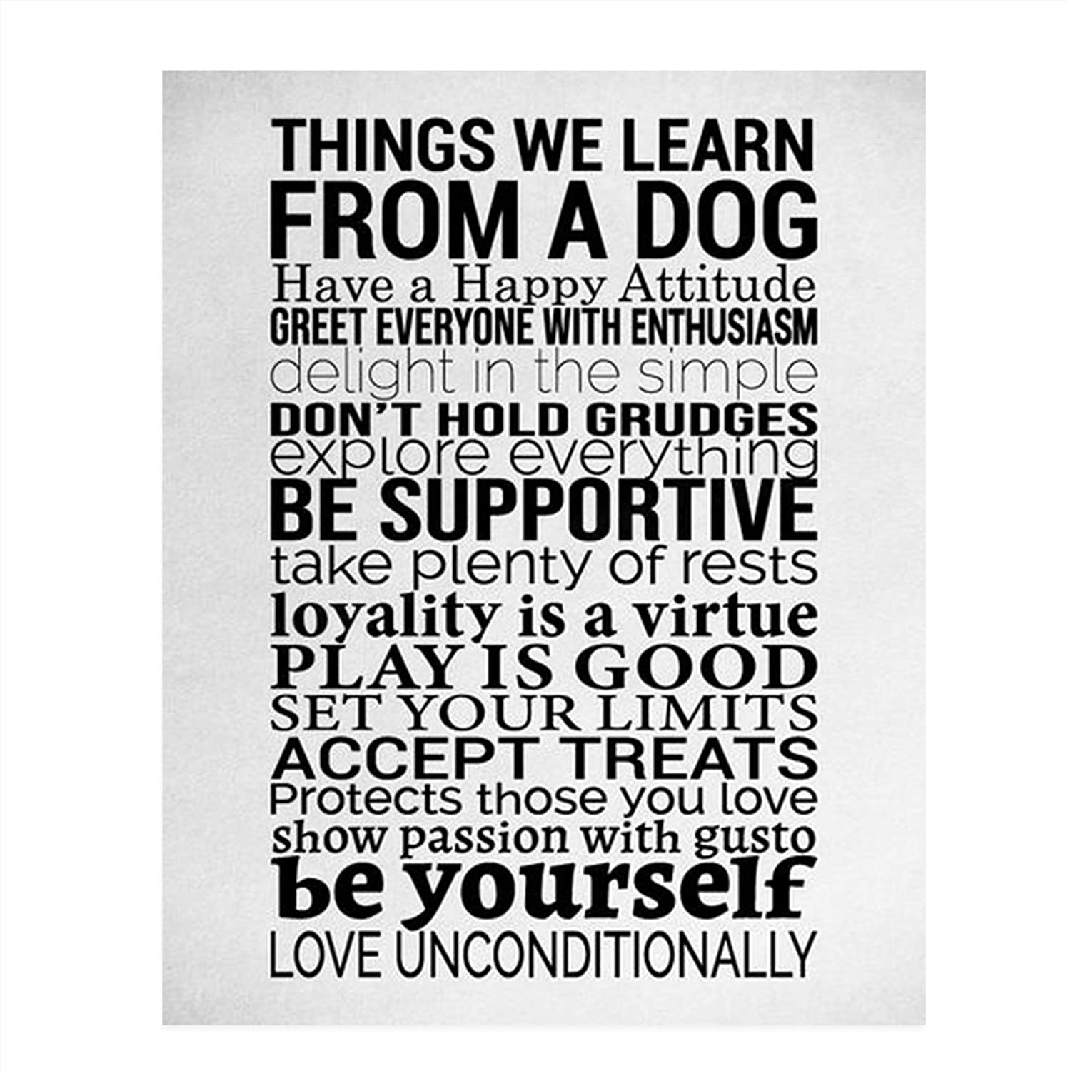 """Things We Learn From a Dog""- Happy Life- Wall Art Sign- 8 x 10"" Print Wall Decor-Ready to Frame. Modern Typographic Art Print for Home-Office Decor. Great Reminders to Play-Treat-Wag & Love All!"