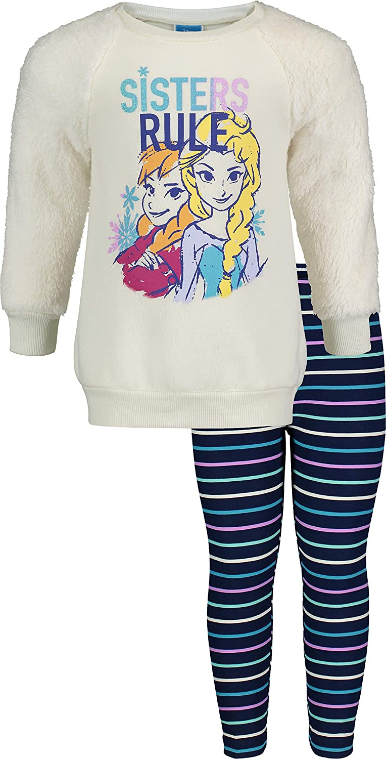 Disney Frozen Girls Fleece Fashion Top and Leggings Set