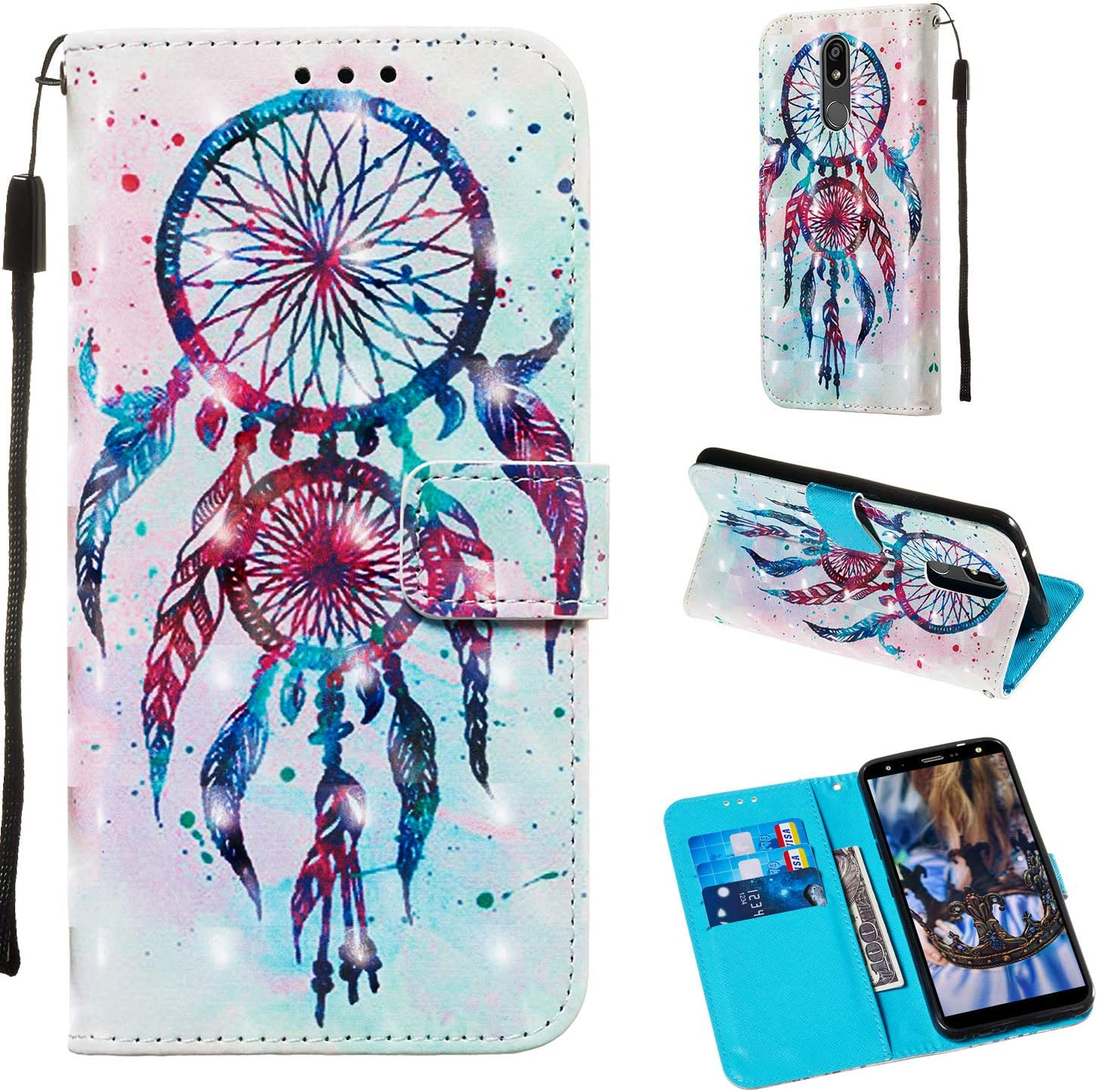 LG K40 Case,LG K12 Plus 2019 wallet case for Girls Women 3D Relief PU Leather Wallet Flip Cover with Credit Card Slot and Kickstand Magnetic Folio Case for LG K40 2019 / LG K12 Plus (Color wind bell)