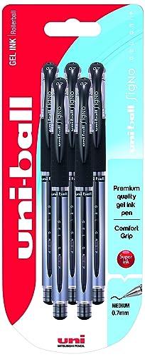 UM-151S Signo Gel Pens with Gel Grip, Black Gel Super Ink, Tamper Proof, 0.7mm Stainless Steel Nib, Package of 5