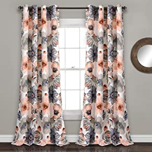 "Lush Decor Coral and Gray Leah Floral Room Darkening Window Panel Curtain Set for Living, Dining, Bedroom (Pair), 95"" x 52 L"
