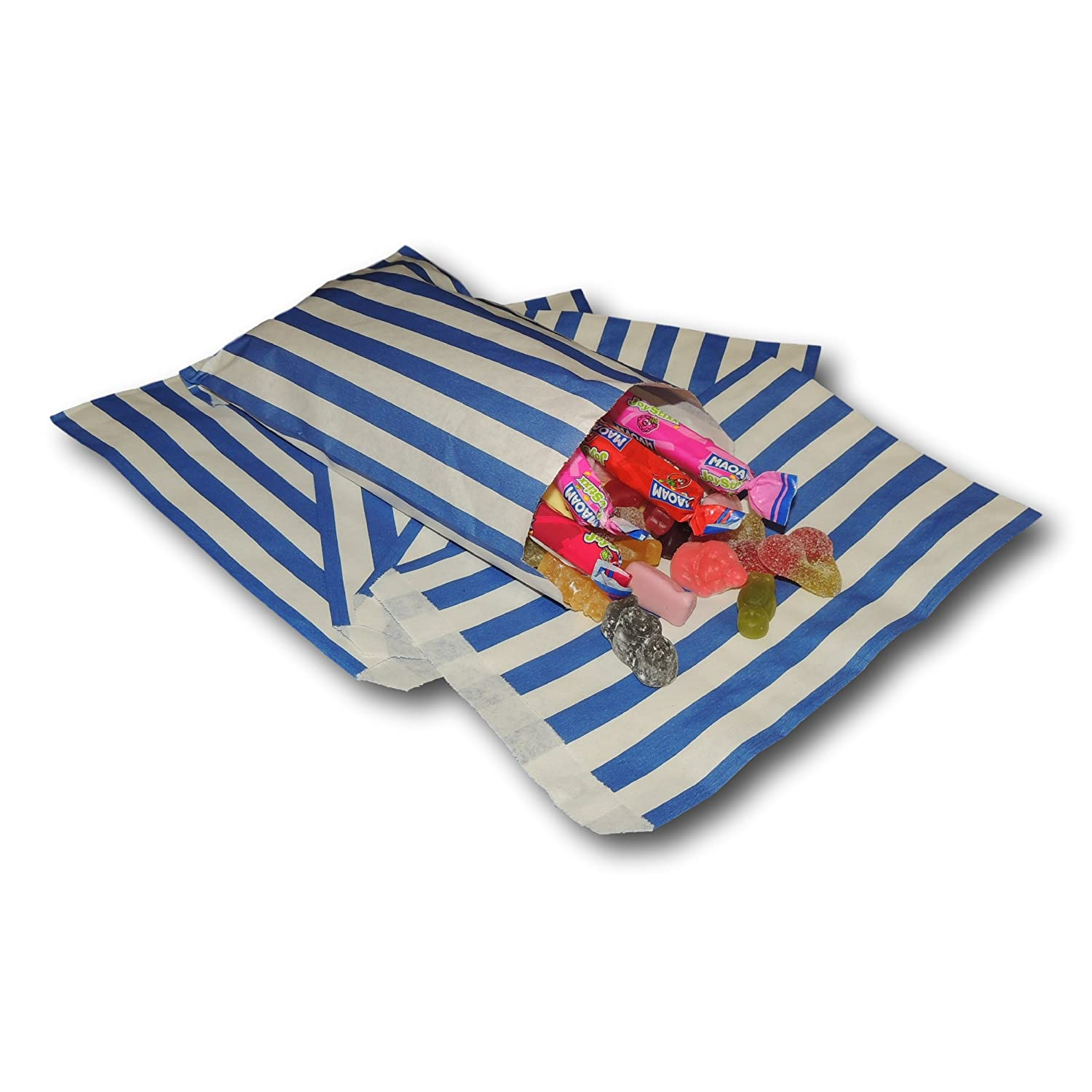 """EPOSGEAR® 100 Mixed 7"""" x 9"""" Coloured Candy Stripe Sweet Paper Party Bags - Ideal for Gift Shops, Wedding Favours, Candy Carts, Buffets etc - (Blue, Pink, Purple, Red & Yellow)"""