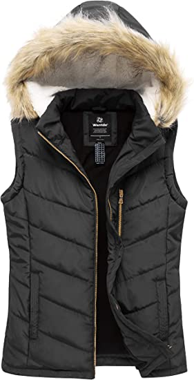 Wantdo Womens Thicken Winter Vest Quilted Warm Puffer Vest with Faux Fur