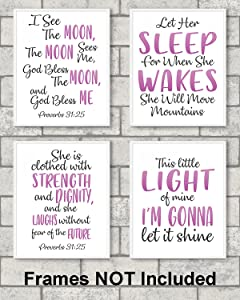 """Gabby's Choice Religious Wall Decor for Girls Bedroom – Set of 4 Prints 8"""" x 10"""" unframed Motivational Wall Art for Your Loved one."""