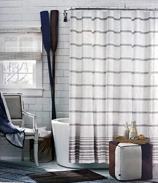 light gray shower curtain. Tommy Hilfiger Fabric Shower Curtain Light Gray Stripes on White  Baja Signature Stripe Amazon com