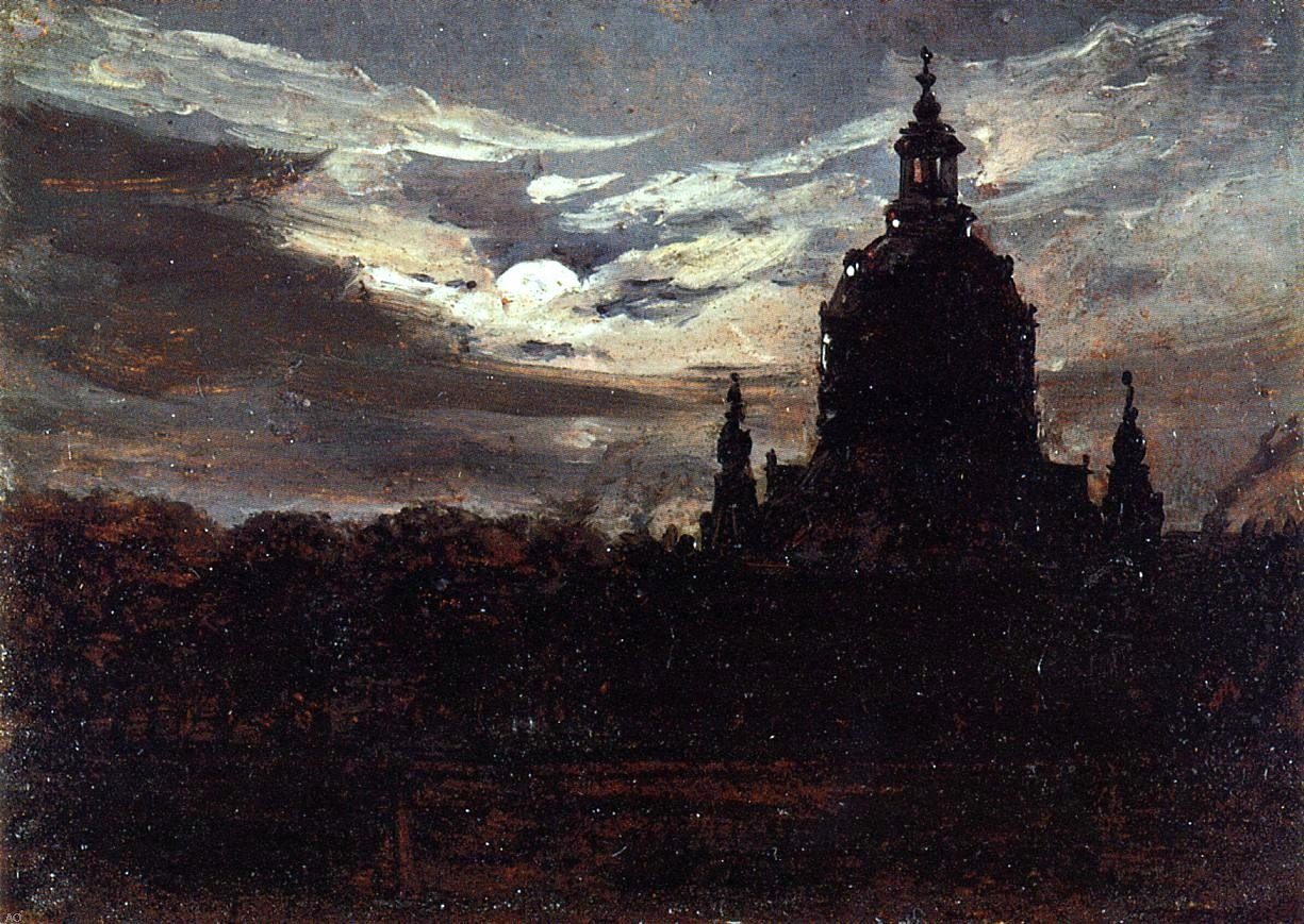 Johan Christian Claussen Dahl The Frankenkirche Dresden - 24'' x 36'' 100% Hand Painted Oil Painting Reproduction by Art Oyster