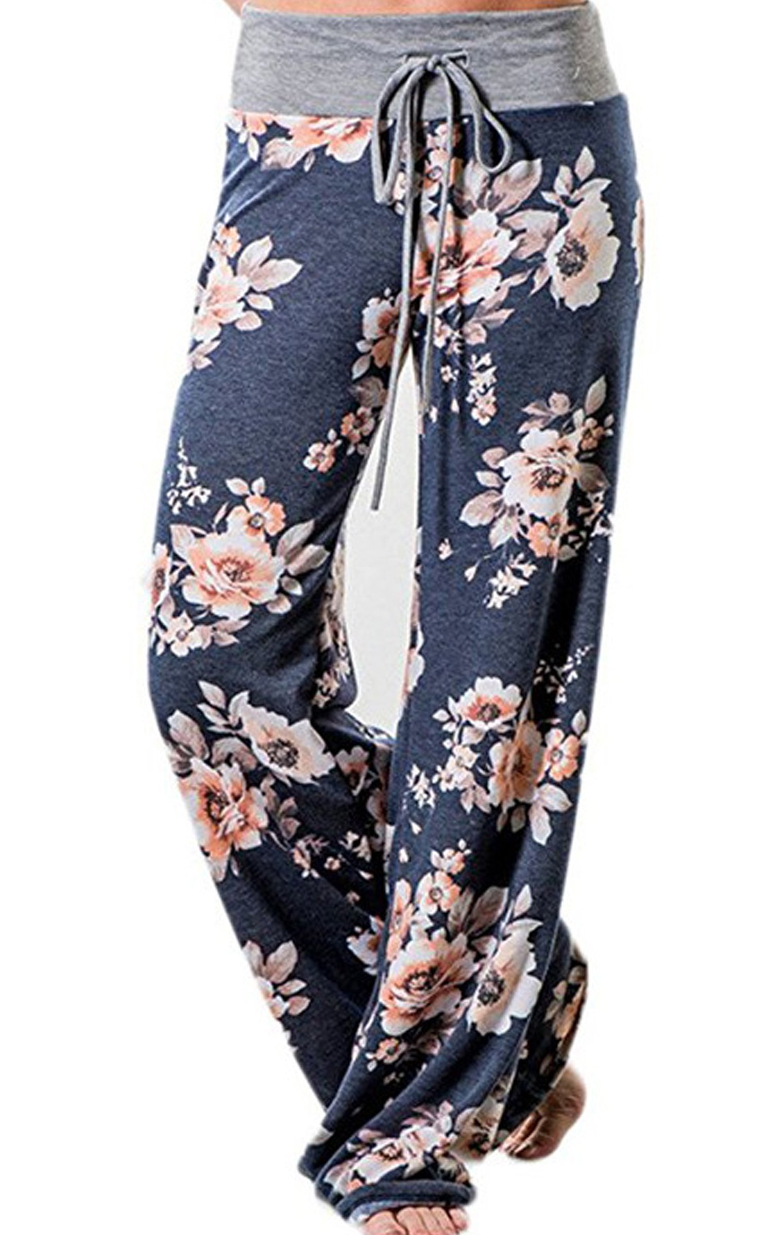 Angashion Women's High Waist Casual Floral Print Drawstring Wide Leg Pants,Blue0486,US 2/Tag S