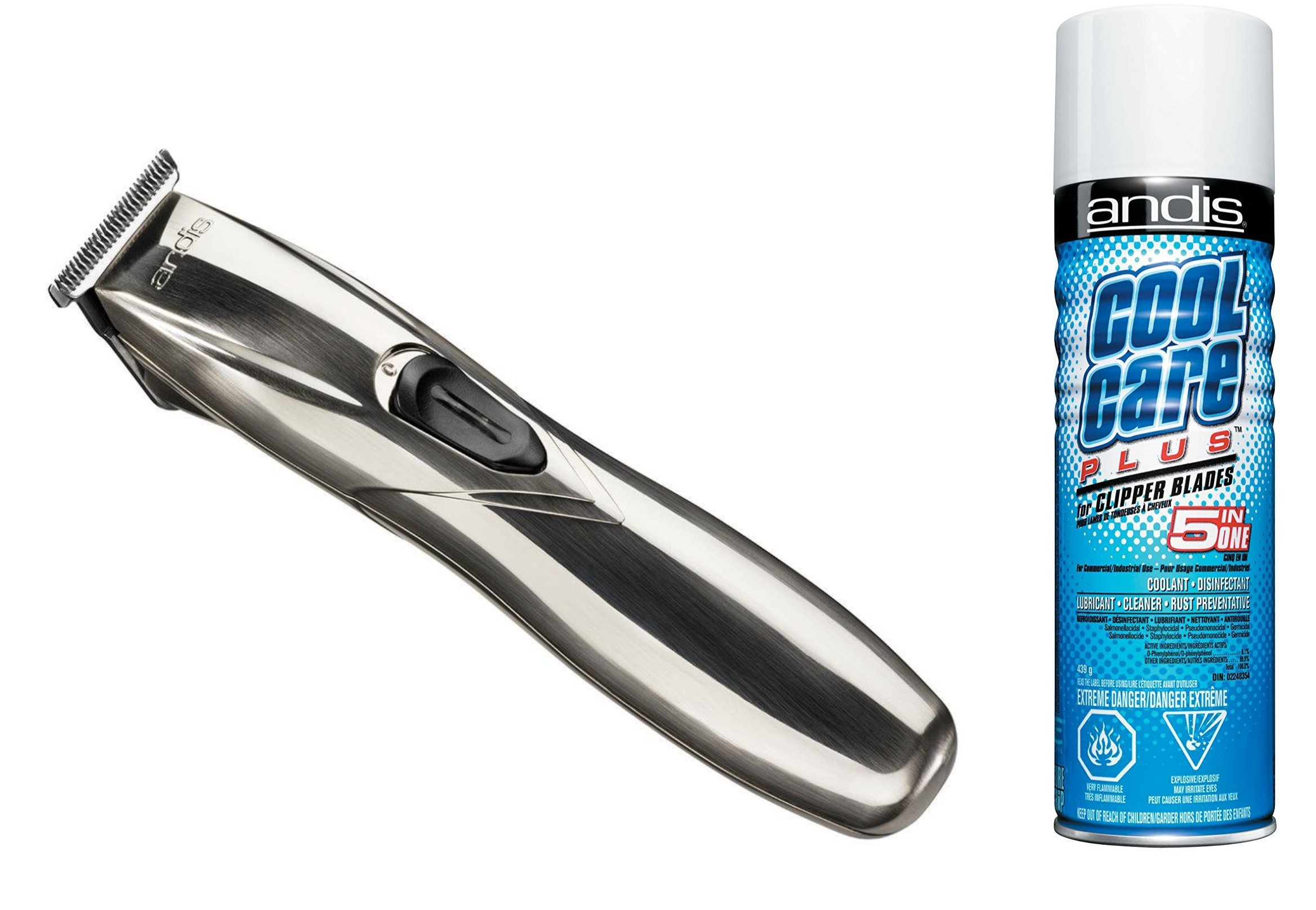 Andis PowerTrim T-BLADE CORDLESS Mens Hair Trimmer with BONUS FREE Andis Cool Care Plus Clipper Blade Cleaner Included