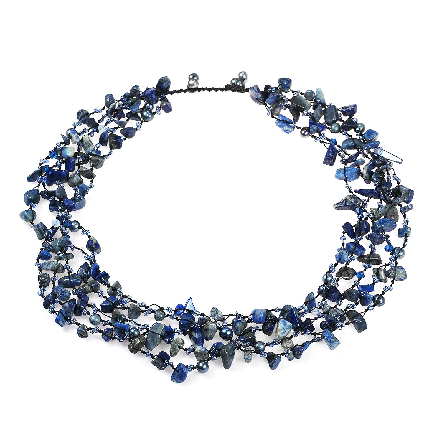 AeraVida Sea Blue Reconstructed Lapis-Lazuli Five-Layer Beauty Cotton Wax Rope Necklace