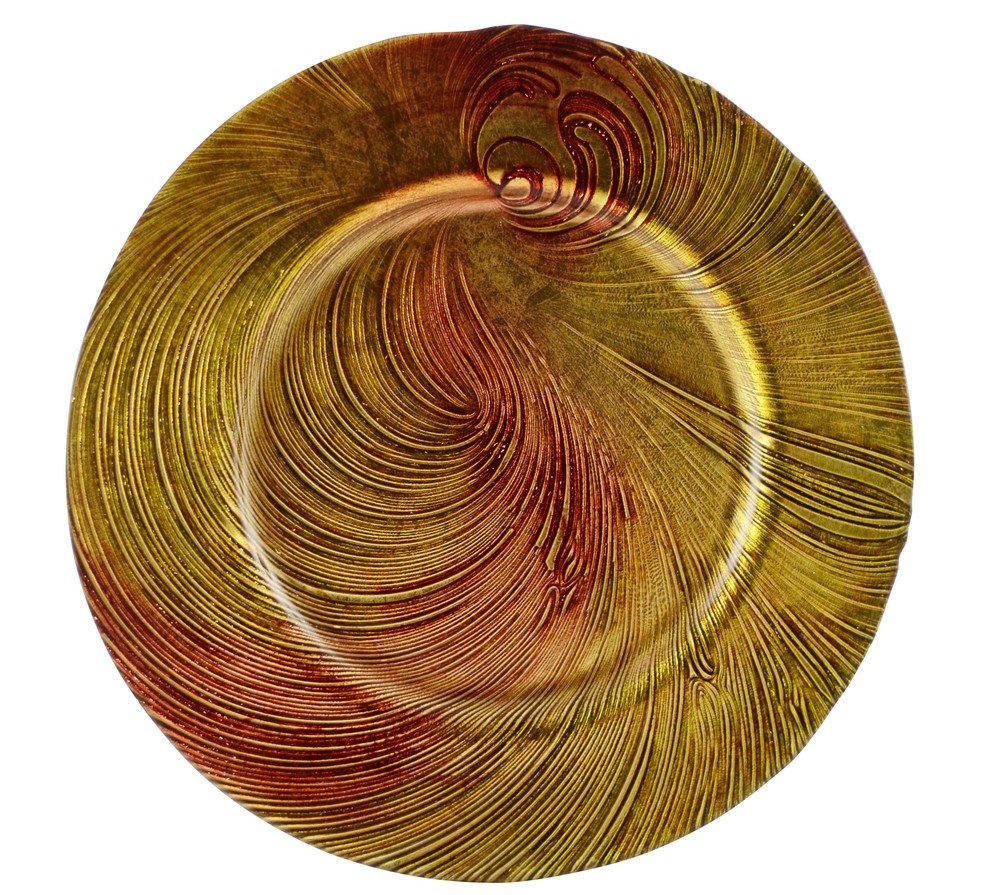 10 Strawberry Street Cyclone 13'' Glass Charger Plate, Set of 4, Red/Gold