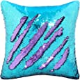 "Play Tailor Mermaid Pillow Case, Magic Reversible Sequin Pillow Cover Throw Cushion Case 16""X16""(Teal-Light Purple)"