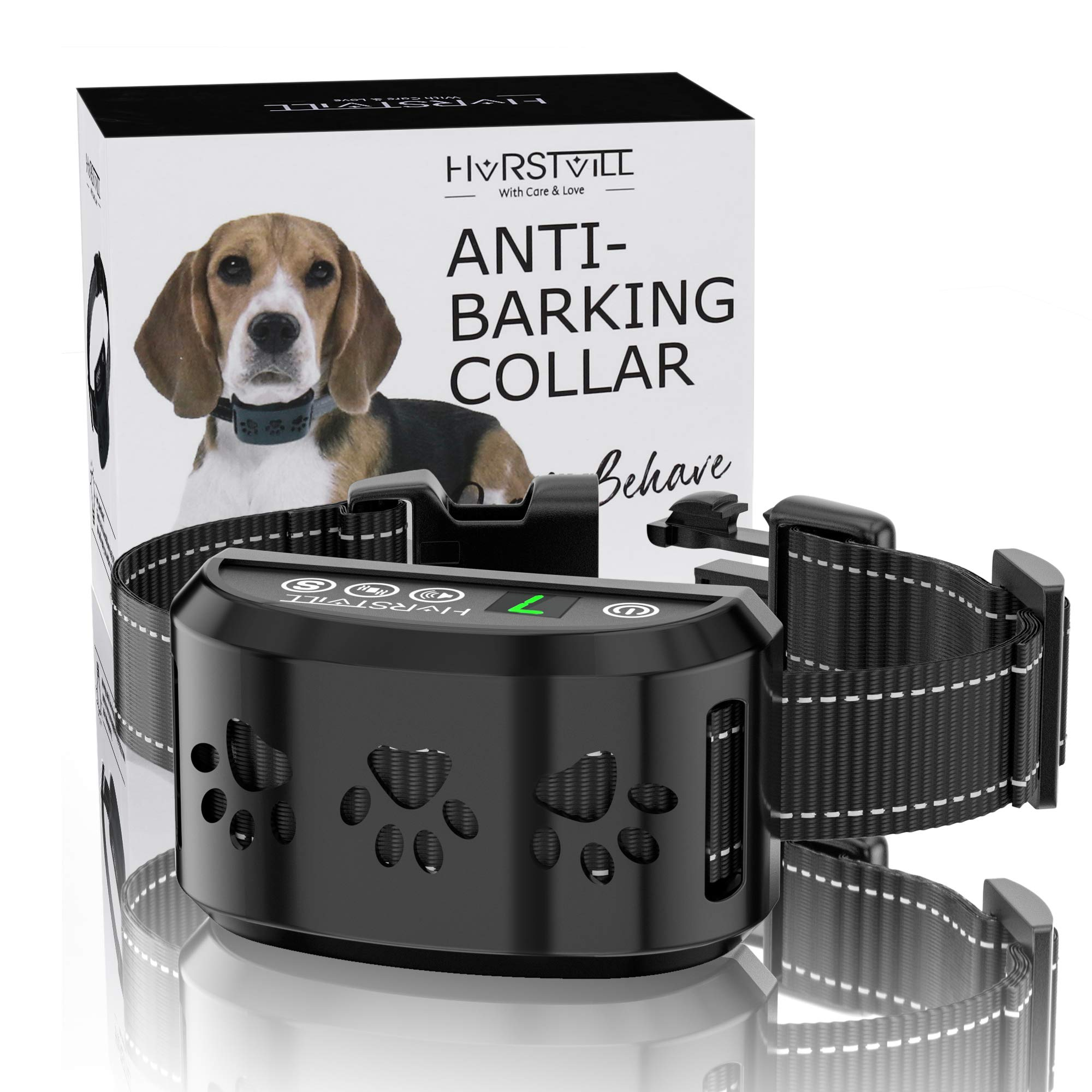 HVRSTVILL Advanced Bark Collar, Anti Bark Collar for Small Medium Large Dogs, Stop Barking Device - NO SHOCK, Safely and Humane with Sound & Vibration, Rechargeable and Adjustable Belt 7-55kg
