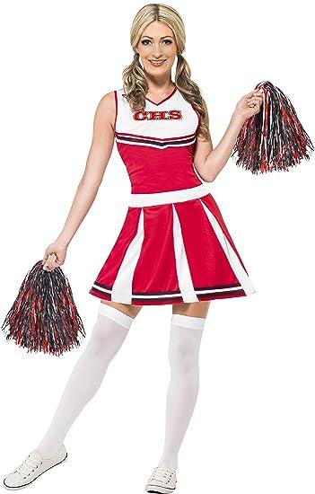 Smiffys 40065XS - Damen Cheerleader Kostüm, Kleid und Pompons, Größe ...